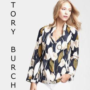 TORY BURCH Normandy Stephanie Blue Print Tulip Top